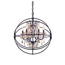Geneva 6 light Dark Bronze Chandelier Golden Teak (Smoky) Royal Cut crystal