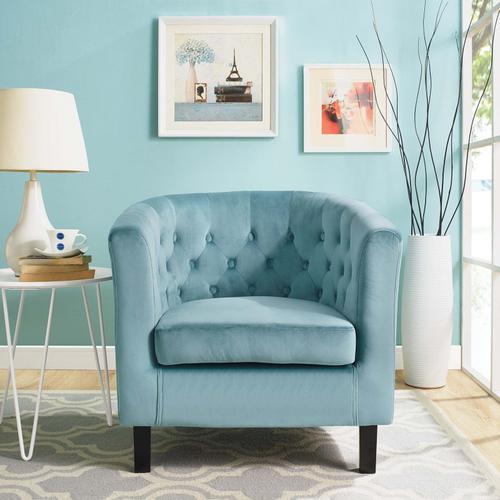 Prospect Performance Velvet Armchair in Sea Blue