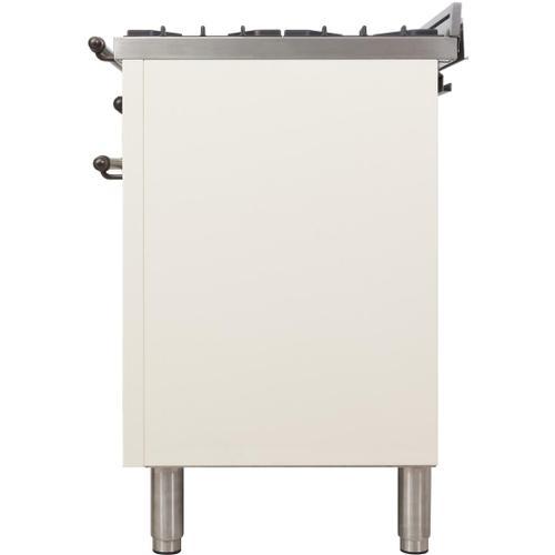 Ilve - Nostalgie 36 Inch Dual Fuel Liquid Propane Freestanding Range in Antique White with Bronze Trim
