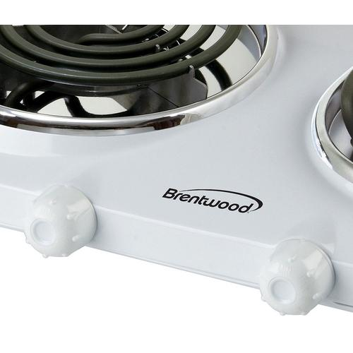 Brentwood - Brentwood TS-368 1500w Double Electric Burner, White