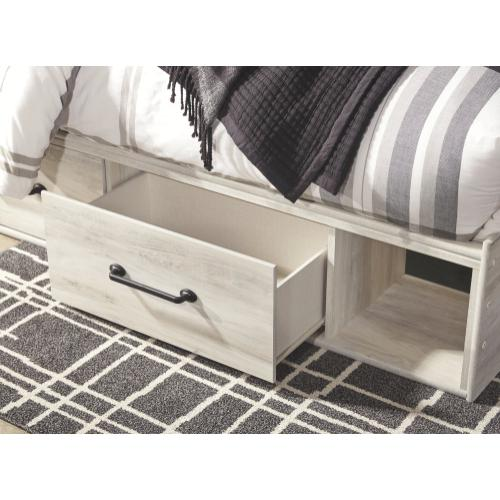 Queen Panel Bed With 2 Storage Drawers With Mirrored Dresser, Chest and Nightstand