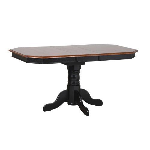 Pedestal Extendable Dining Set w/Antique Black Arrowback Chairs (5 Piece)