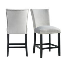 Francesca Gray Velvet Counter Height Chair Set