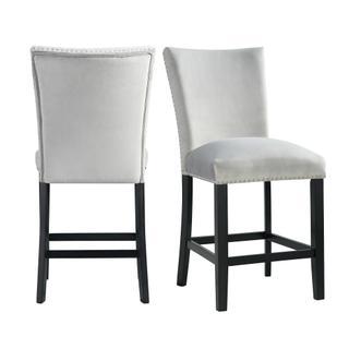 Francesca Gray Velvet Counter Height Chair Set