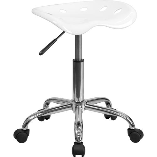 Flash Furniture - Vibrant White Tractor Seat and Chrome Stool