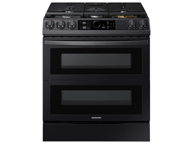 Samsung6.0 Cu. Ft. Flex Duo™ Front Control Slide-In Gas Range With Smart Dial, Air Fry & Wi-Fi In Black Stainless Steel