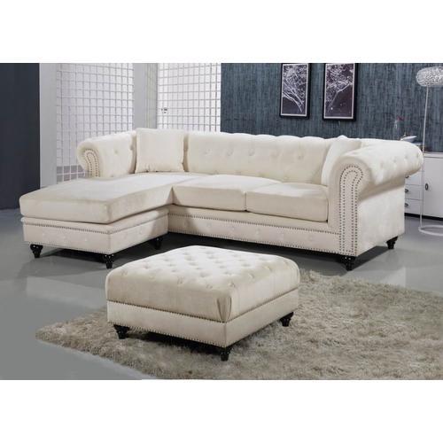 "Meridian Furniture - Sabrina Velvet Reversible 2pc. Sectional - 96"" W x 67"" D x 31"" H"