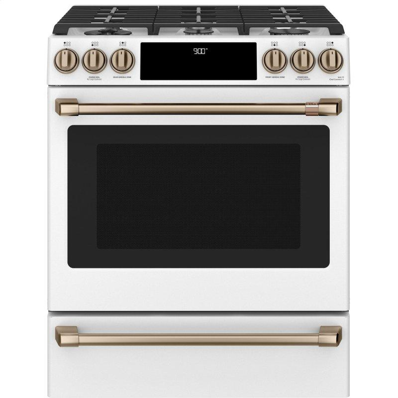 "30"" Smart Slide-In, Front-Control, Dual-Fuel Range with Warming Drawer"