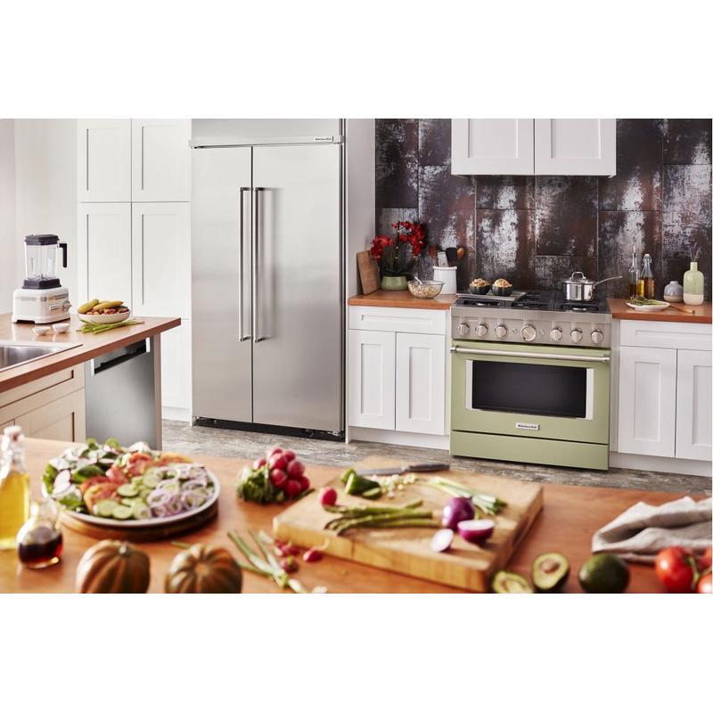 KitchenAid® 36'' Smart Commercial-Style Dual Fuel Range with 6 Burners - Avocado Cream
