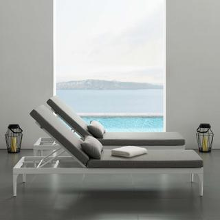 Perspective Cushion Outdoor Patio Chaise Lounge Chair in White Gray
