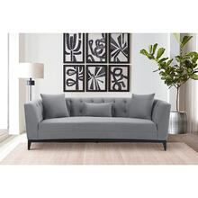 See Details - Melange Gray Velvet Sofa with Black Wood Base