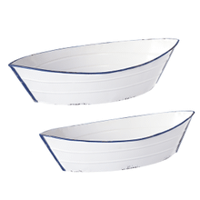 Blue & White Enamel Boat Tray (2 pc. set)