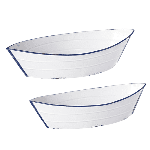 Blue & White Enamel Boat Tray (2 pc. set)