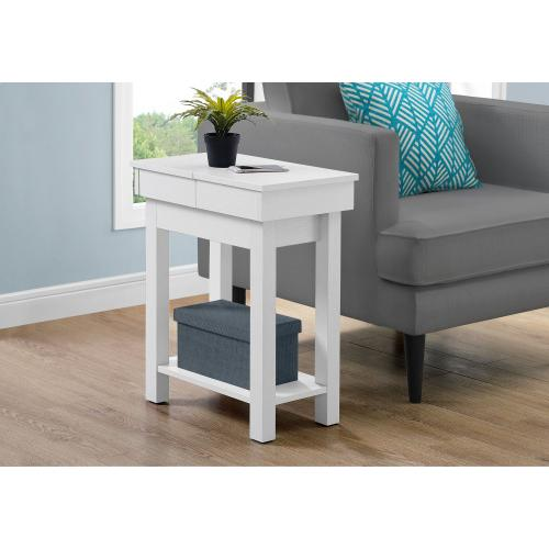 "ACCENT TABLE - 24""H / WHITE WITH STORAGE"