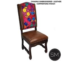 Chiapas Mexican Embroidered Leather Style Chairs