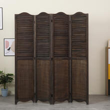 See Details - 7109 ANTIQUE BROWN Arc Top Rustic Shutter 4-Panel Room Divider