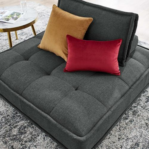 Modway - Saunter Tufted Fabric Armless Chair in Gray