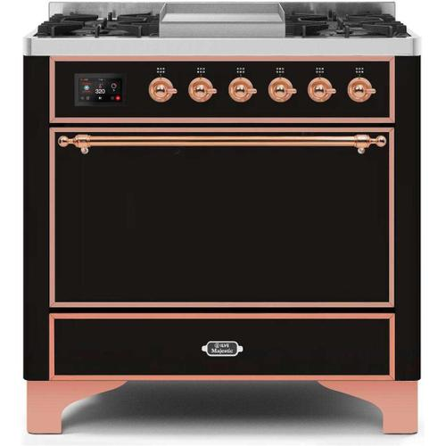 Ilve - Majestic II 36 Inch Dual Fuel Natural Gas Freestanding Range in Glossy Black with Copper Trim
