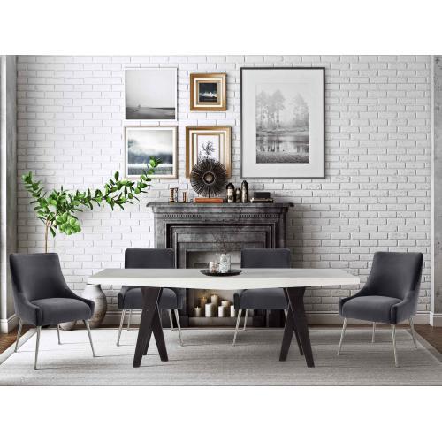 Beatrix Grey Velvet Side Chair with Silver Leg