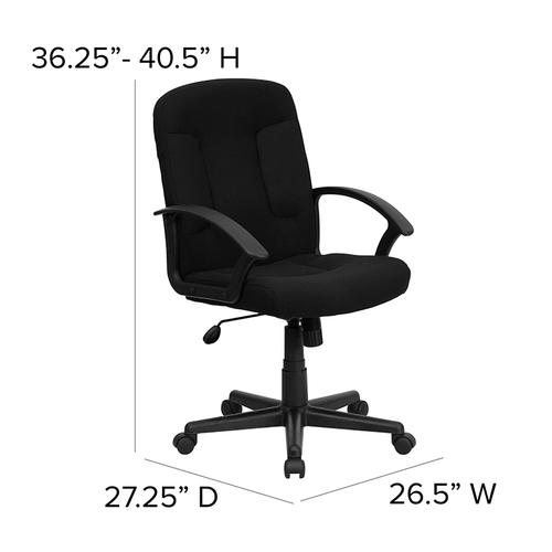 Gallery - Mid-Back Black Fabric Executive Swivel Office Chair with Nylon Arms