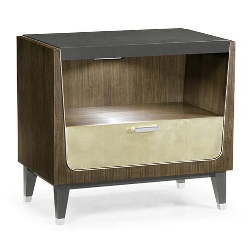 Gatsby Contemporary Dark Grey Walnut & Champagne Silver-leaf Bedside Cabinet