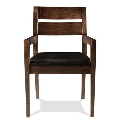 Mix-n-match Chairs - Slat Back Upholstered Arm Chair - Hazelnut Finish