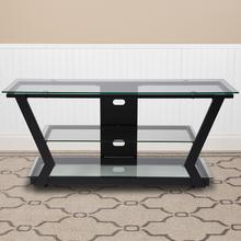 Product Image - Harbor Hills Glass TV Stand with Black Metal Frame