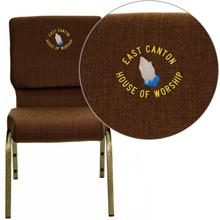 Embroidered HERCULES Series 18.5''W Stacking Church Chair in Brown Fabric - Gold Vein Frame