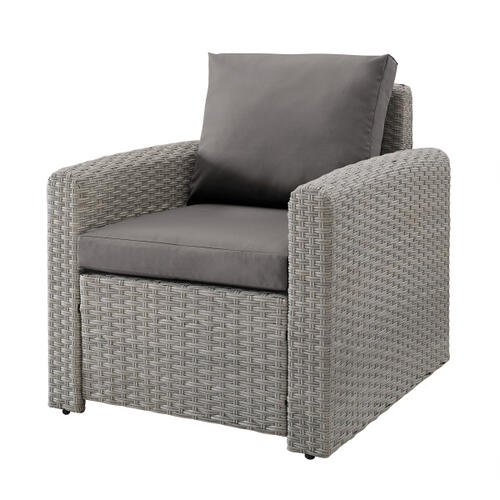Wicker-Look Upholstered Outdoor Accent Chair in Cygnet Gray