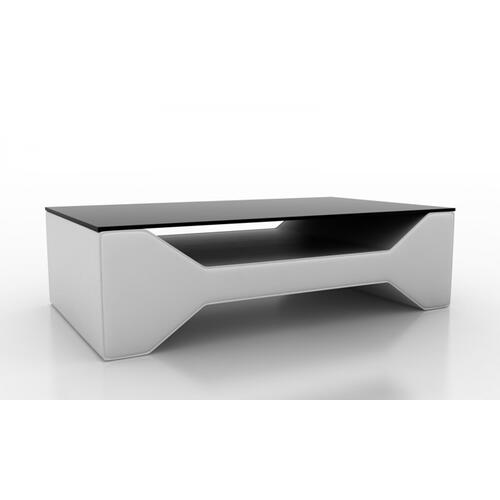 Divani Casa EV29 Modern White Bonded Leather Coffee Table w/ Glass Top
