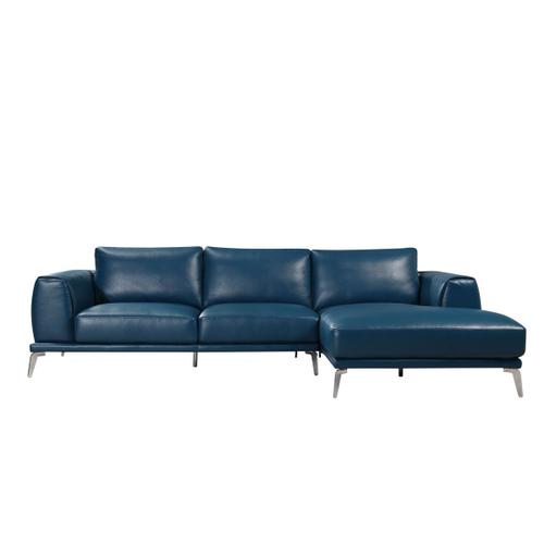 Divani Casa Drancy Modern Blue Bonded Leather Sectional Sofa