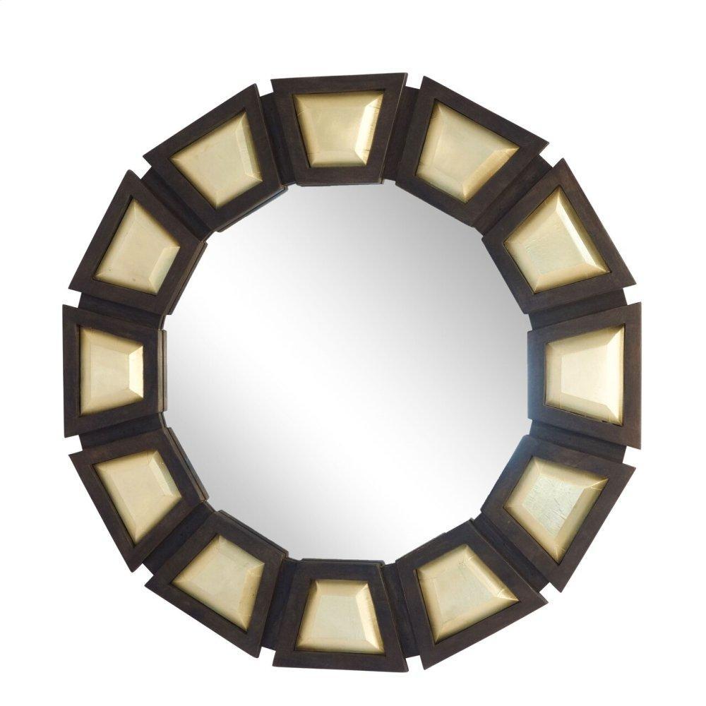 "Wooden 37"" Frame Wall Mirror, Antique Brass / Gray"