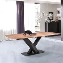 Armen Living Everett Contemporary Dining Table in Matte Black Finish and Walnut Top