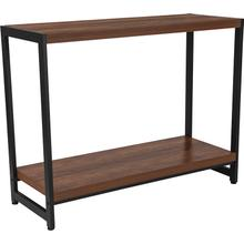 See Details - Grove Hill Collection Rustic Wood Grain Finish Console Table with Black Metal Frame