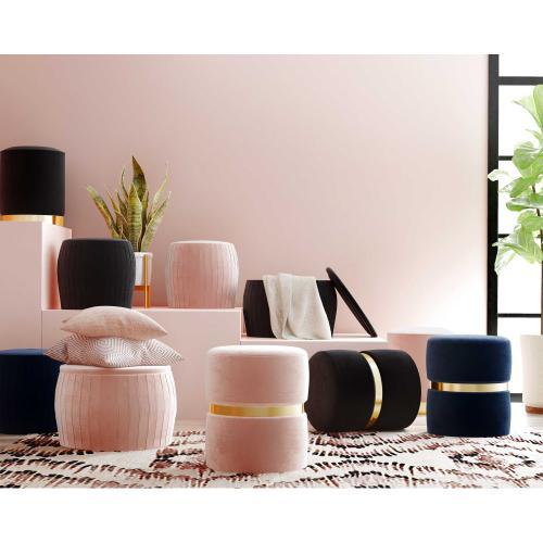 Tov Furniture - Pri Black Velvet Ottoman