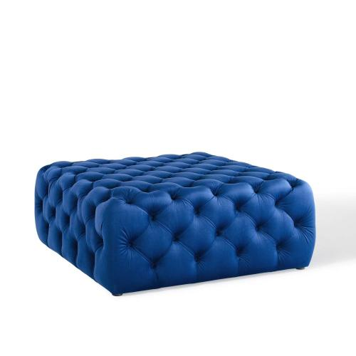 Amour Tufted Button Large Square Performance Velvet Ottoman in Navy