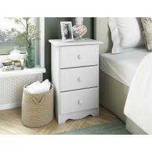 100% Solid Wood 3-Drawer Night Stand, White