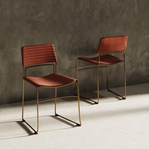Modrest Swain Modern Salmon Fabric & Gold Dining Chair (Set of 2)