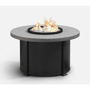 "42"" Round Chat Fire Pit Ht: 24.5"" Valero Aluminum Base (Top Color: Drift Frame Finish: Onyx)"