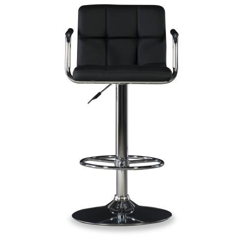 Upholstered Faux Leather Swivel Barstool, Black and Chrome Quilted