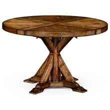 Country living style walnut circular dining table