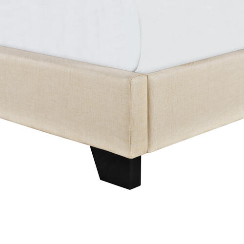 Accentrics Home - Cream Upholstered Twin Bed with Double Nail Head Trim