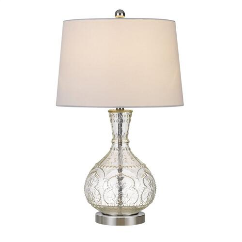 Cal Lighting & Accessories - 150W Nador Glass Table Lamp With Taper Drum Hardback Fabric Shade