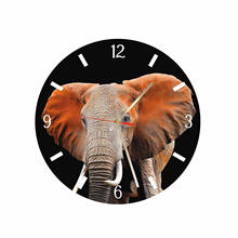 Elephant Round Square Acrylic Wall Clock