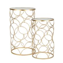 """Product Image - S/2 Metal /mirror 28 /24"""" Sidetables, Gold"""