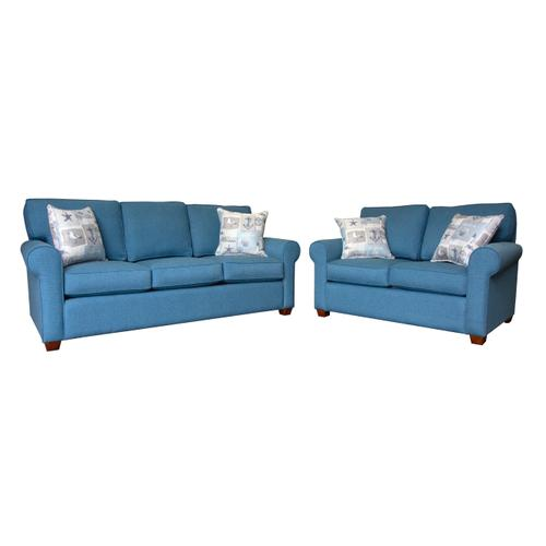 """Capris Furniture - 3 encased back pillows over 3 Convo-Lux seat cushion King Sofa w/ 2-1/2"""" Pyramid legs available in Caramel, Black Cherry, Frost, Driftwood or Walnut finish."""