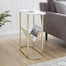 View Product - Margo Oblong Side Table - Faux White Marble\/Gold