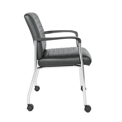 Guest Chair With Casters In Black Faux Leather With Chrome Frame
