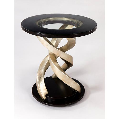 """Artmax - End Table with Glass Dia.26 x 27"""""""