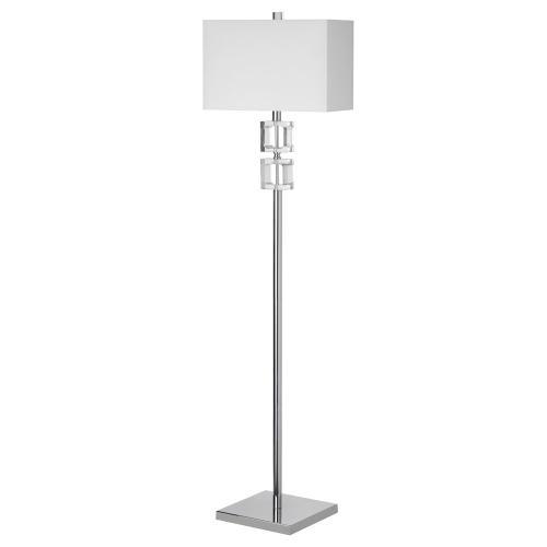 1lt Floor Lamp Square Crystal W/wht Shd
